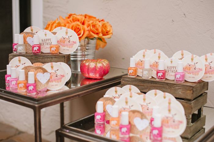 "Favor table from a ""Little Pumpkin"" Fall Picnic Birthday Party on Kara's Party Ideas 