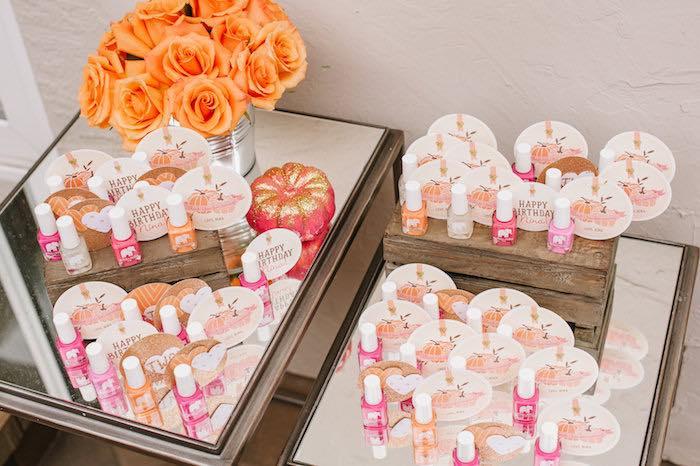 "Favor table from a ""Little Pumpkin"" Fall Picnic Birthday Party on Kara's Party Ideas   KarasPartyIdeas.com (13)"