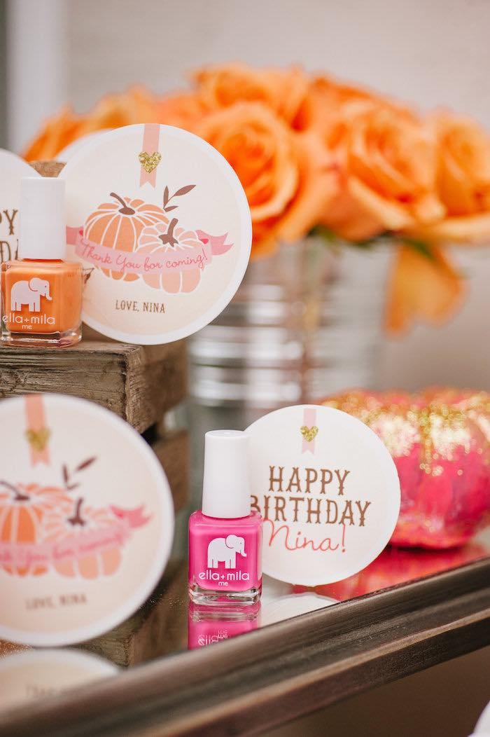 "Nail polish favors with custom tags from a ""Little Pumpkin"" Fall Picnic Birthday Party on Kara's Party Ideas | KarasPartyIdeas.com (12)"