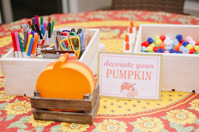 "Pumpkin decorating craft from a ""Little Pumpkin"" Fall Picnic Birthday Party on Kara's Party Ideas 