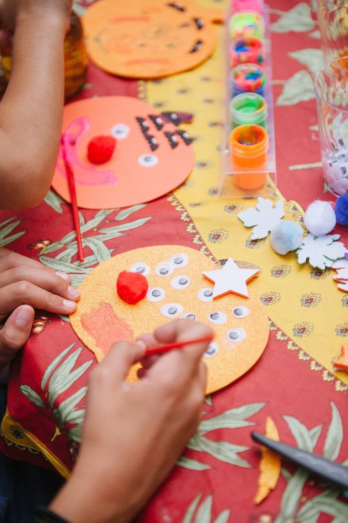 "Pumpkin decorating craft from a ""Little Pumpkin"" Fall Picnic Birthday Party on Kara's Party Ideas | KarasPartyIdeas.com (10)"