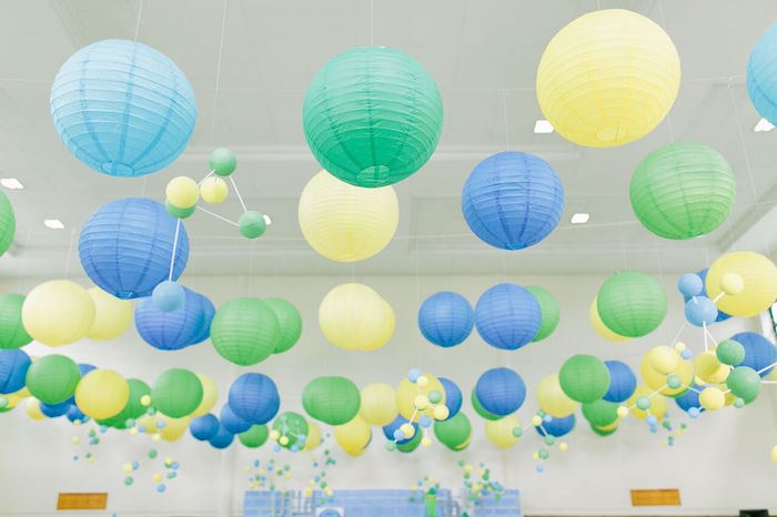 Paper lantern ceilingscape from a Mad Science Birthday Party on Kara's Party Ideas | KarasPartyIdeas.com (22)