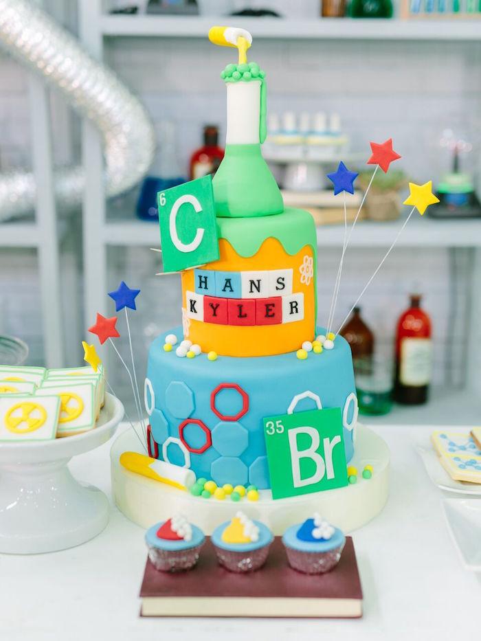 Science experiment birthday cake