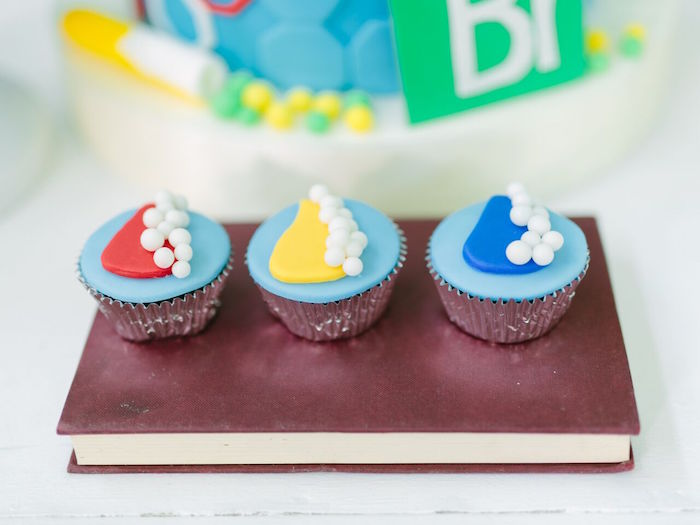 Cupcakes from a Mad Science Birthday Party on Kara's Party Ideas | KarasPartyIdeas.com (16)