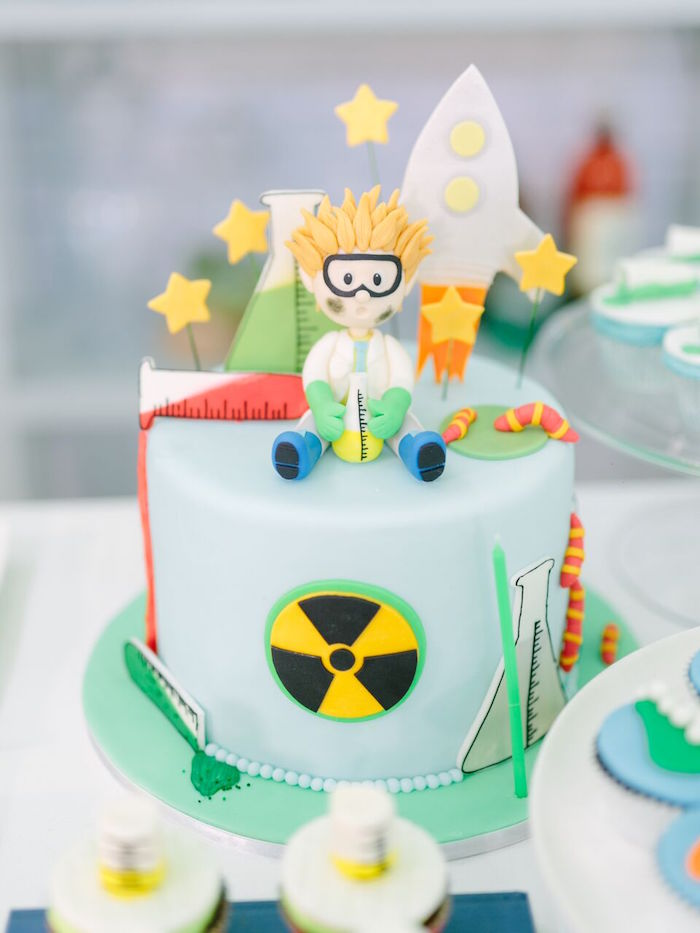 Biohazard smash cake from a Mad Science Birthday Party on Kara's Party Ideas | KarasPartyIdeas.com (15)