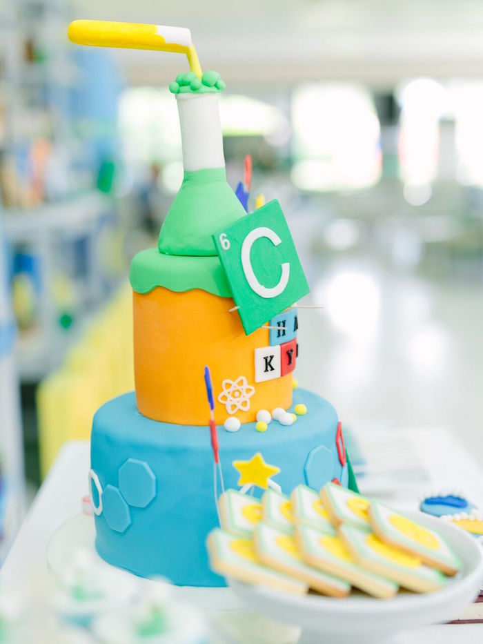 Science themed cake from a Mad Science Birthday Party on Kara's Party Ideas | KarasPartyIdeas.com (14)