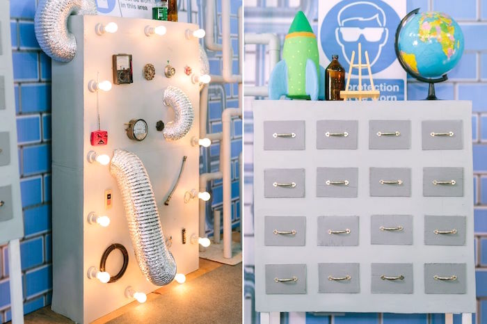 Interactive wall panel + decor from a Mad Science Birthday Party on Kara's Party Ideas | KarasPartyIdeas.com (40)