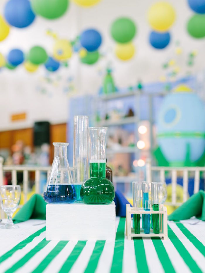 Science-inspired table centerpieces from a Mad Science Birthday Party on Kara's Party Ideas | KarasPartyIdeas.com (12)