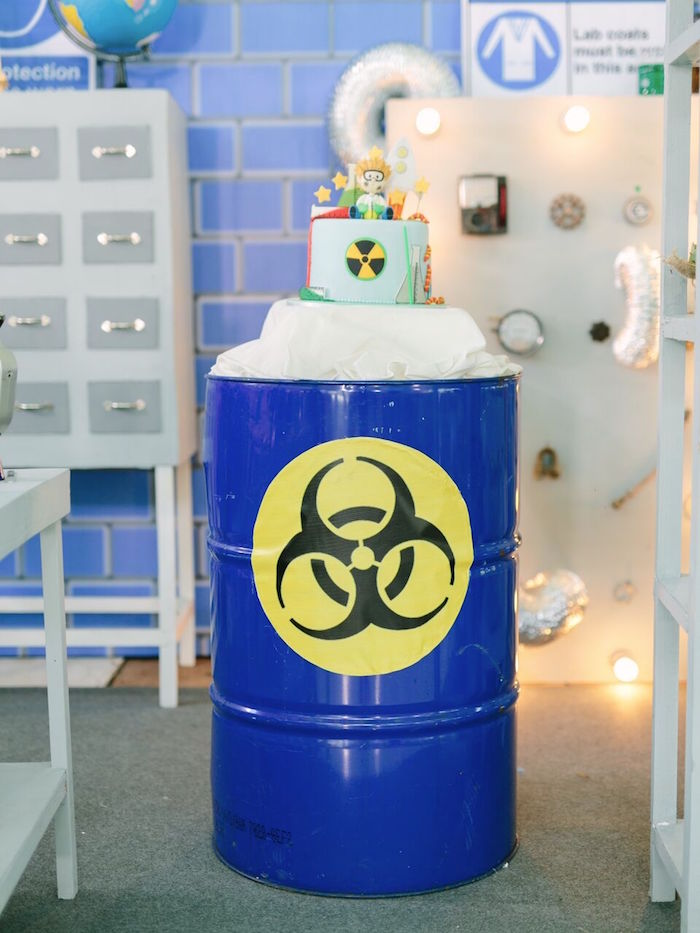 Biohazard cake from a Mad Science Birthday Party on Kara's Party Ideas | KarasPartyIdeas.com (10)