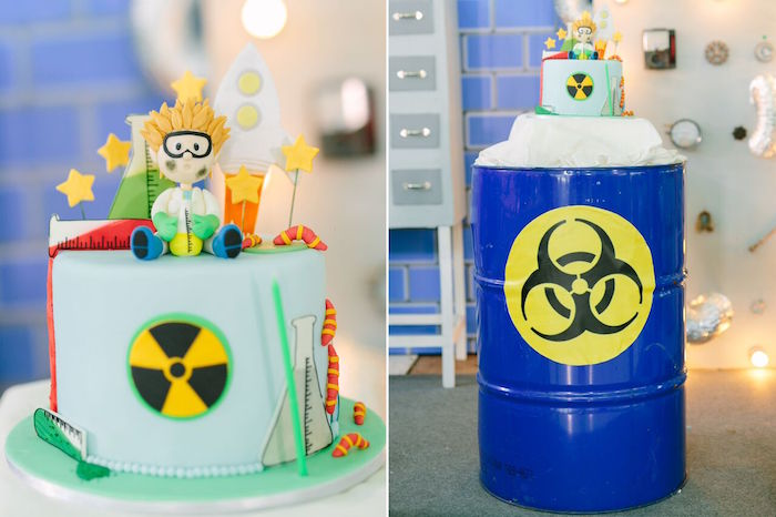 Biohazard cake from a Mad Science Birthday Party on Kara's Party Ideas | KarasPartyIdeas.com (39)