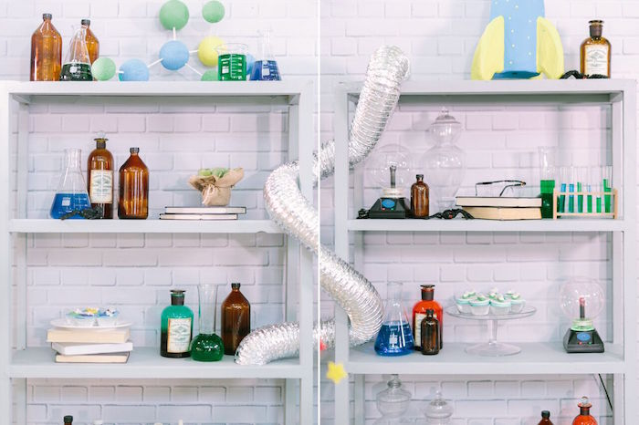 Decor + shelving from a Mad Science Birthday Party on Kara's Party Ideas | KarasPartyIdeas.com (38)