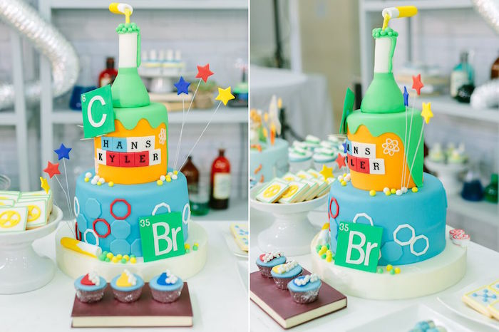 Cake from a Mad Science Birthday Party on Kara's Party Ideas | KarasPartyIdeas.com (33)