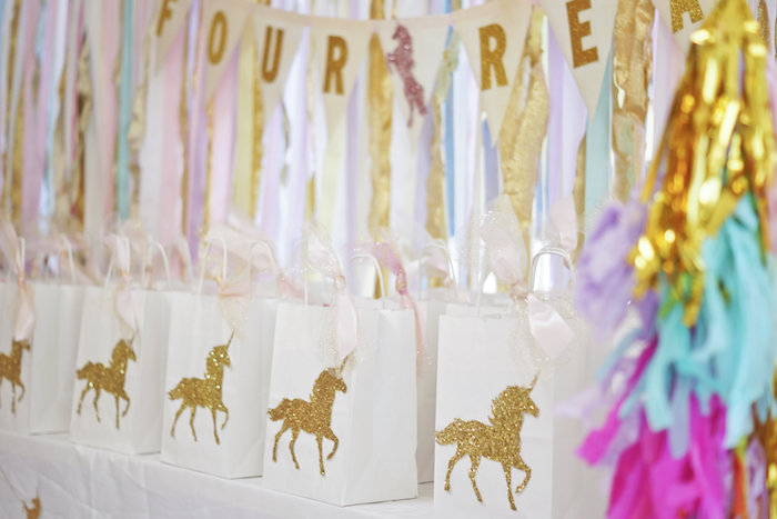"Unicorn favor bags from a Magical ""Magic is Four Real"" Unicorn Birthday Party on Kara's Party Ideas 
