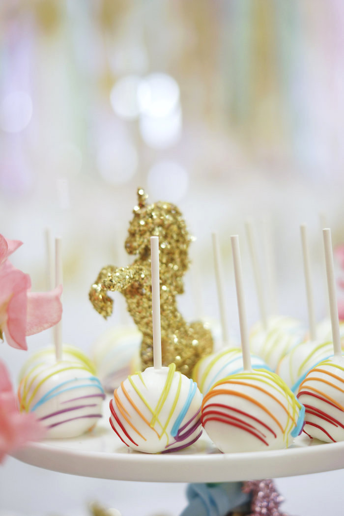 "Colorful cake pops from a Magical ""Magic is Four Real"" Unicorn Birthday Party on Kara's Party Ideas 
