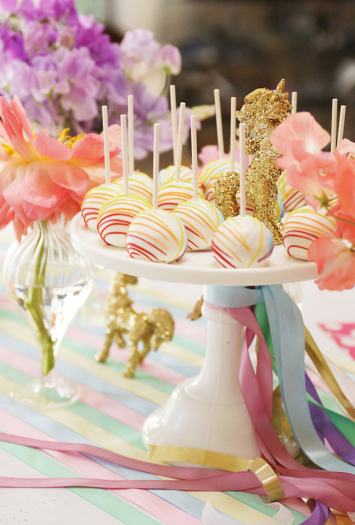 "Cake pops from a Magical ""Magic is Four Real"" Unicorn Birthday Party on Kara's Party Ideas 
