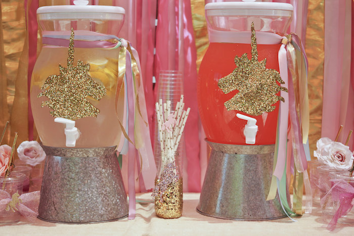 "Unicorn beverage dispensers from a Magical ""Magic is Four Real"" Unicorn Birthday Party on Kara's Party Ideas 
