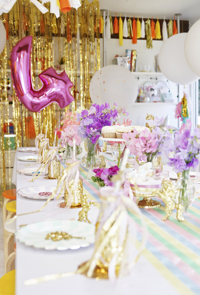"Place settings + guest tablescape from a Magical ""Magic is Four Real"" Unicorn Birthday Party on Kara's Party Ideas 