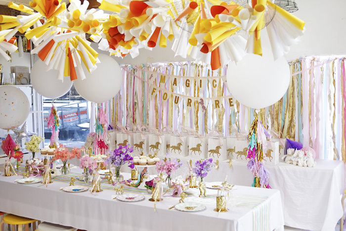 "Party tables + party spread from a Magical ""Magic is Four Real"" Unicorn Birthday Party on Kara's Party Ideas 