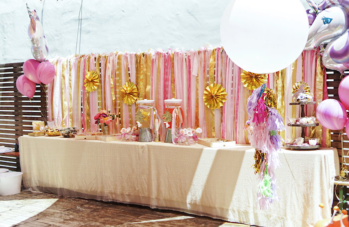 "Party table from a Magical ""Magic is Four Real"" Unicorn Birthday Party on Kara's Party Ideas 