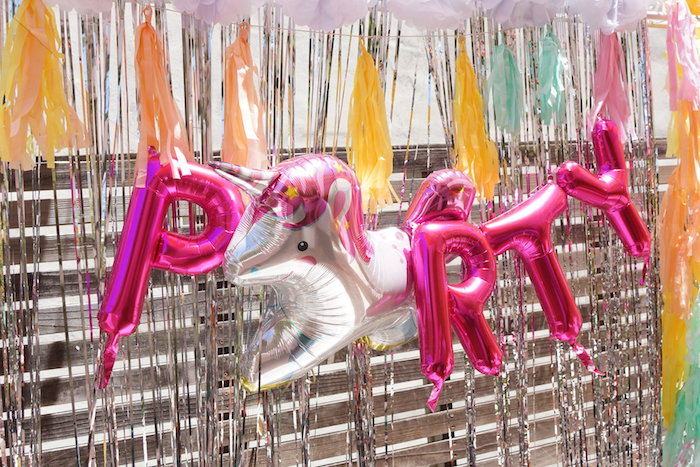 "Mylar Letter Balloon Banner from a Magical ""Magic is Four Real"" Unicorn Birthday Party on Kara's Party Ideas 