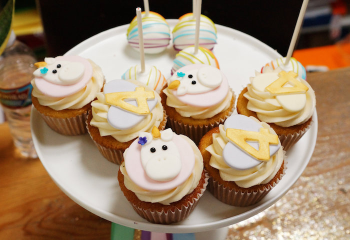 "Cupcakes from a Magical ""Magic is Four Real"" Unicorn Birthday Party on Kara's Party Ideas 