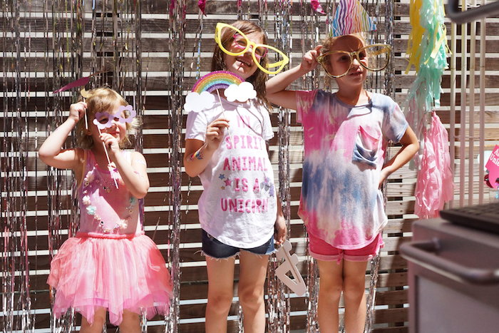 "Photo Booth from a Magical ""Magic is Four Real"" Unicorn Birthday Party on Kara's Party Ideas 