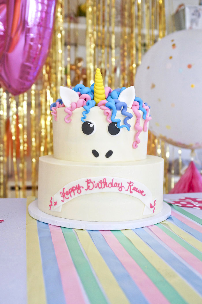 "Unicorn Cake from a Magical ""Magic is Four Real"" Unicorn Birthday Party on Kara's Party Ideas 