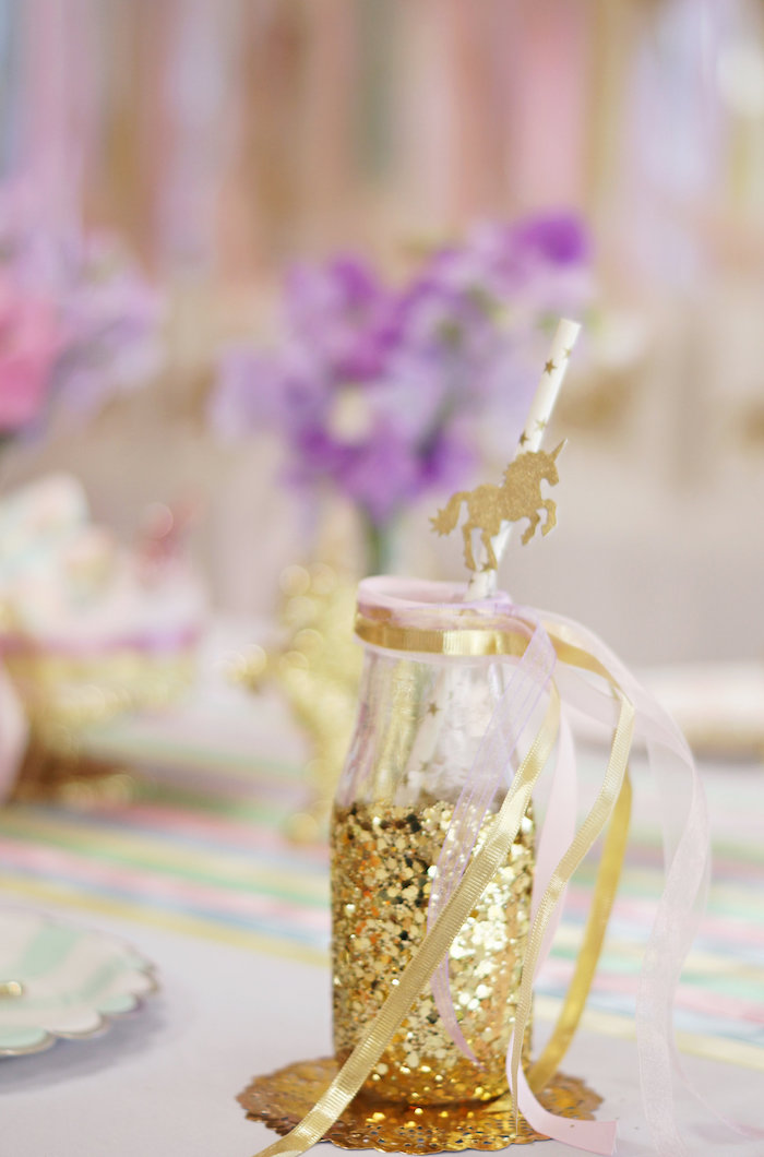 "Gold glass drink bottle from a Magical ""Magic is Four Real"" Unicorn Birthday Party on Kara's Party Ideas 
