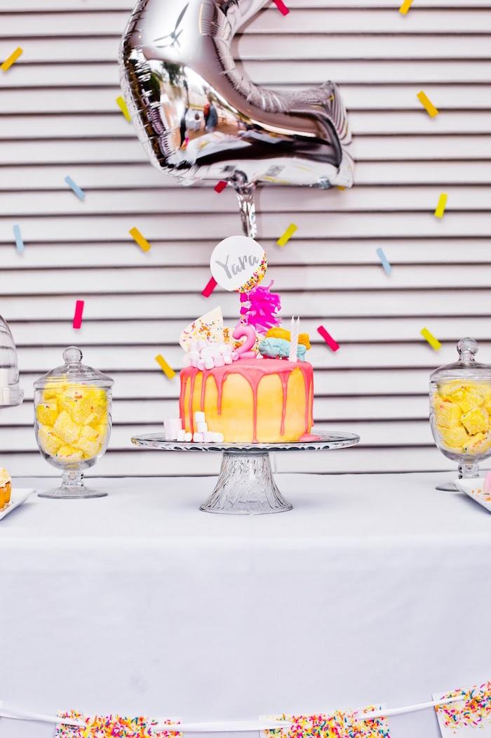 Cake table from a Marshmallows & Sprinkles Birthday Party on Kara's Party Ideas | KarasPartyIdeas.com (16)