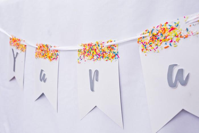 Sprinkle banner from a Marshmallows & Sprinkles Birthday Party on Kara's Party Ideas | KarasPartyIdeas.com (15)