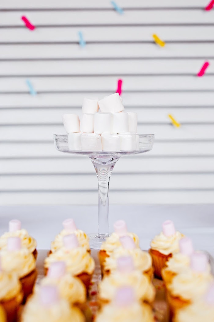 Pedestal of white stacked marshmallows from a Marshmallows & Sprinkles Birthday Party on Kara's Party Ideas | KarasPartyIdeas.com (14)