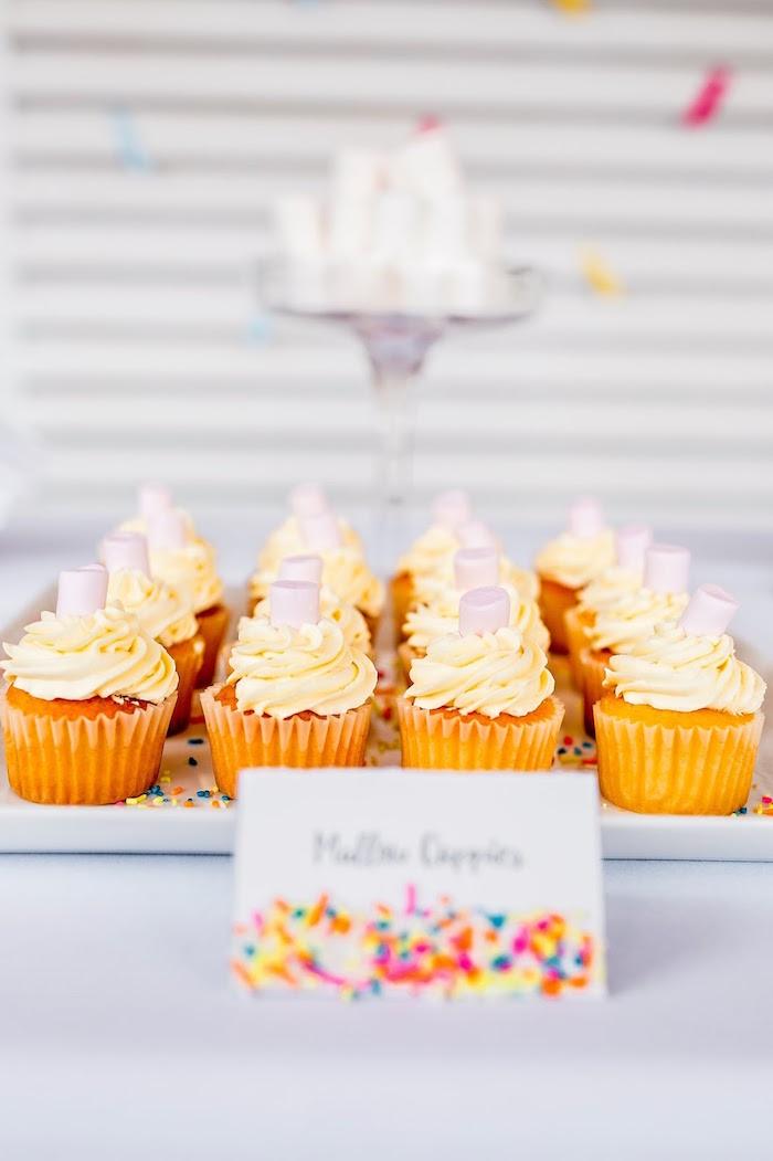 Cupcakes topped with mini marshmallows from a Marshmallows & Sprinkles Birthday Party on Kara's Party Ideas | KarasPartyIdeas.com (13)
