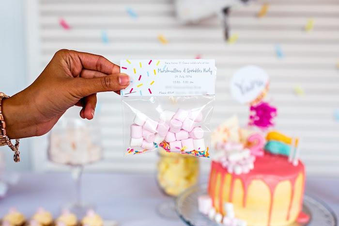 Invitation baggie from a Marshmallows & Sprinkles Birthday Party on Kara's Party Ideas | KarasPartyIdeas.com (12)