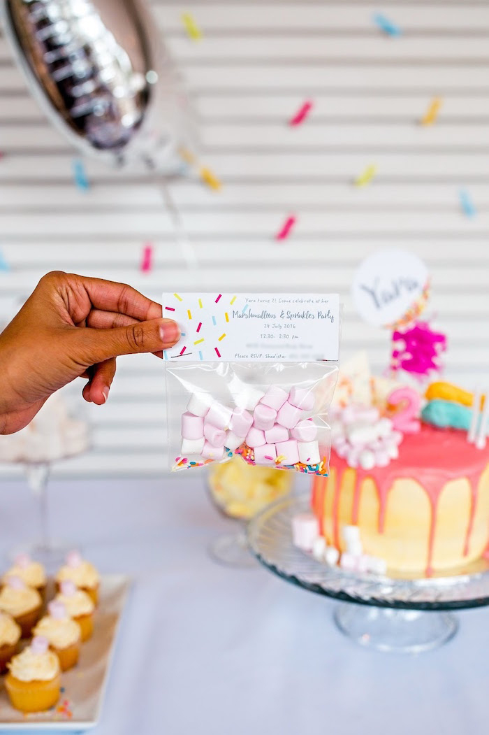 Marshmallows & sprinkles filled bag invitation from a Marshmallows & Sprinkles Birthday Party on Kara's Party Ideas | KarasPartyIdeas.com (11)