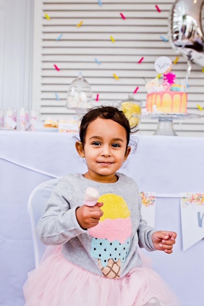 Birthday girl from a Marshmallows & Sprinkles Birthday Party on Kara's Party Ideas | KarasPartyIdeas.com (8)
