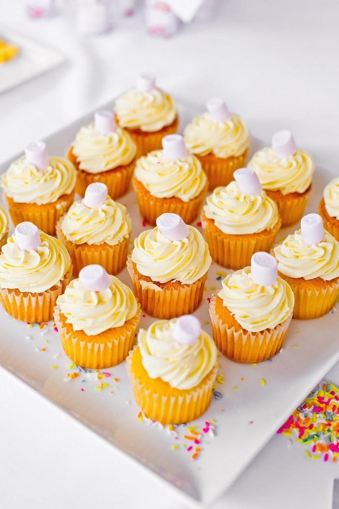 Cupcakes topped with mini marshmallows from a Marshmallows & Sprinkles Birthday Party on Kara's Party Ideas | KarasPartyIdeas.com (25)
