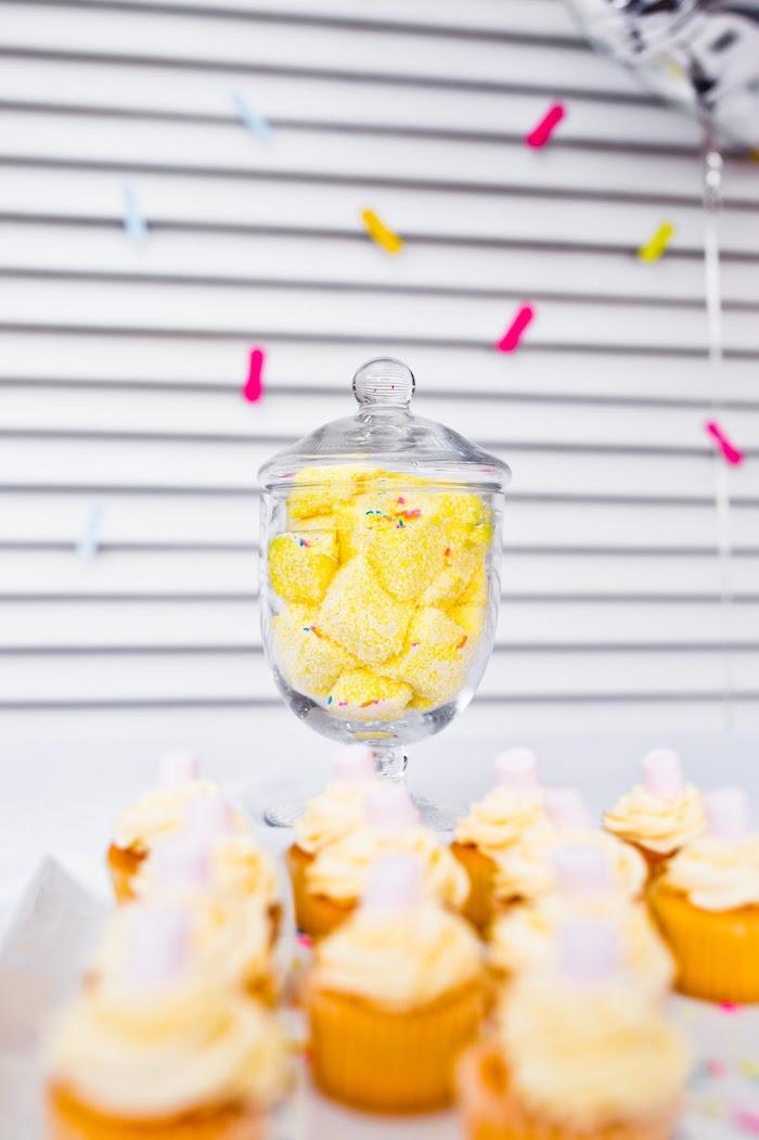Sprinkled marshmallow candy from a Marshmallows & Sprinkles Birthday Party on Kara's Party Ideas | KarasPartyIdeas.com (6)