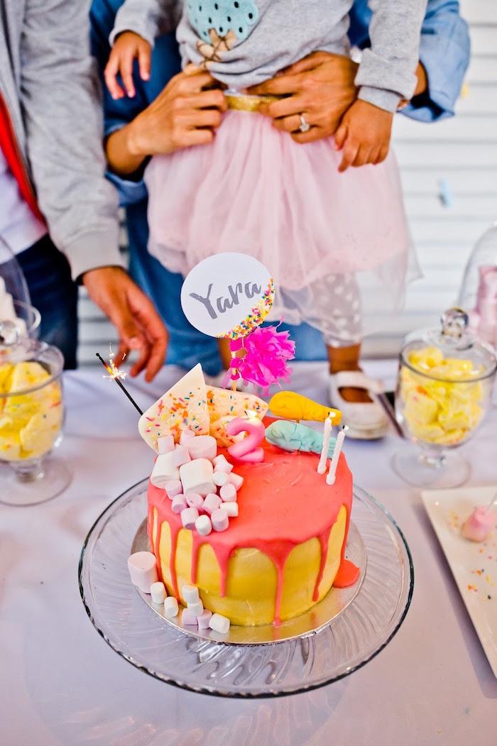 Drizzle birthday cake from a Marshmallows & Sprinkles Birthday Party on Kara's Party Ideas | KarasPartyIdeas.com (5)