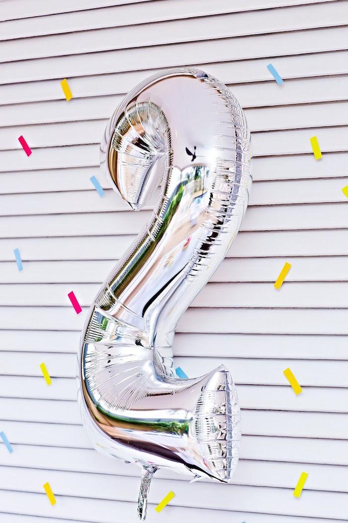 "Silver mylar ""2"" balloon from a Marshmallows & Sprinkles Birthday Party on Kara's Party Ideas | KarasPartyIdeas.com (23)"