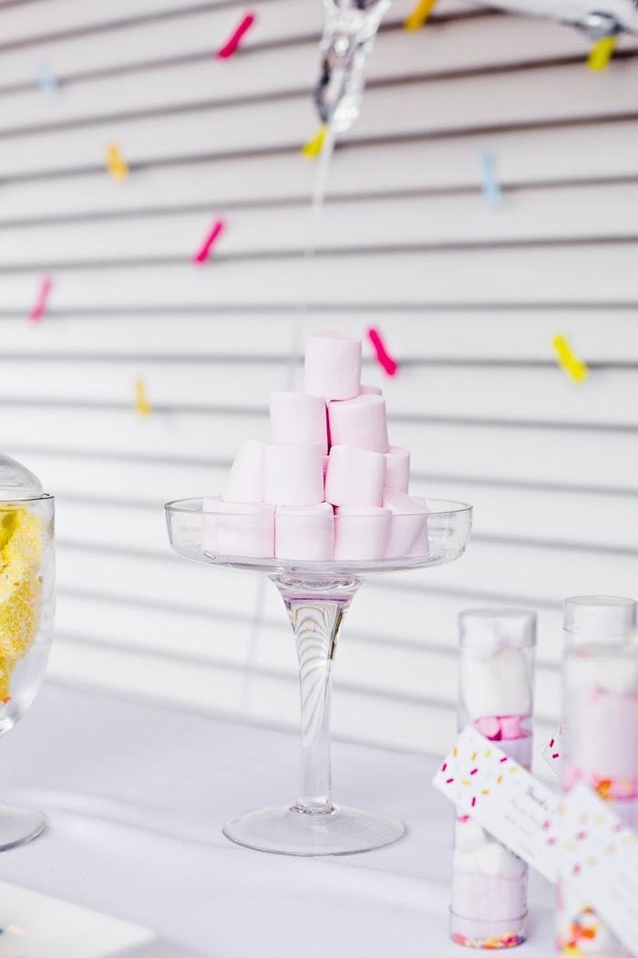 Pink marshmallow pedestal from a Marshmallows & Sprinkles Birthday Party on Kara's Party Ideas | KarasPartyIdeas.com (21)