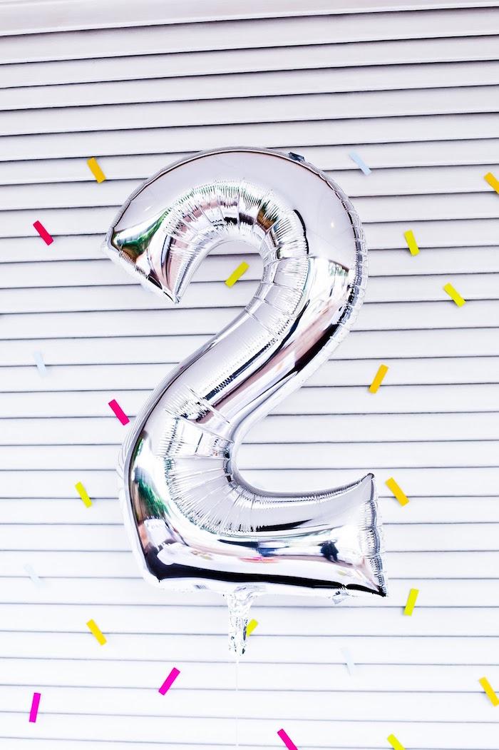 "Silver mylar ""2"" balloon from a Marshmallows & Sprinkles Birthday Party on Kara's Party Ideas | KarasPartyIdeas.com (18)"
