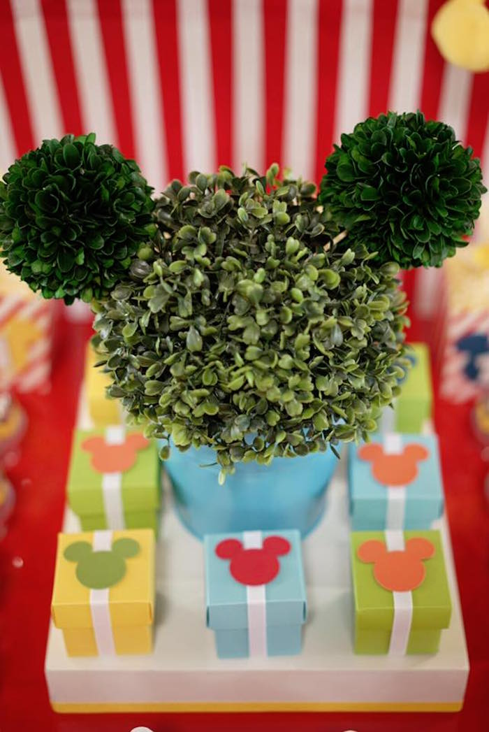 Mickey Mouse topiary and mini favor boxes from a Mickey Mouse 1st Birthday Party on Kara's Party Ideas | KarasPartyIdeas.com (15)