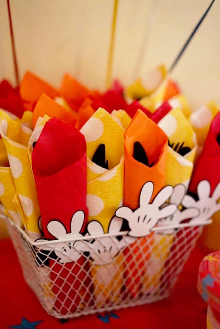 Utensil packs from a Mickey Mouse 1st Birthday Party on Kara's Party Ideas | KarasPartyIdeas.com (12)