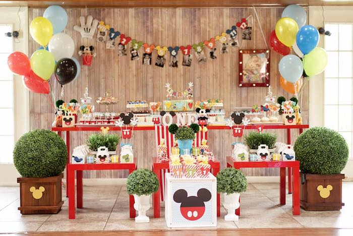 Mickey Mouse Party Spread from a Mickey Mouse 1st Birthday Party on Kara's Party Ideas | KarasPartyIdeas.com (29)