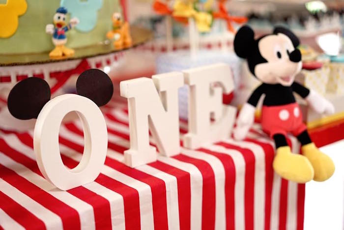Letter block banner from a Mickey Mouse 1st Birthday Party on Kara's Party Ideas | KarasPartyIdeas.com (10)