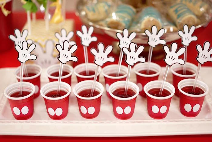 Mickey Mouse jello cups from a Mickey Mouse 1st Birthday Party on Kara's Party Ideas | KarasPartyIdeas.com (9)