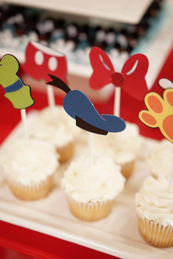 Cupcakes from a Mickey Mouse 1st Birthday Party on Kara's Party Ideas | KarasPartyIdeas.com (8)
