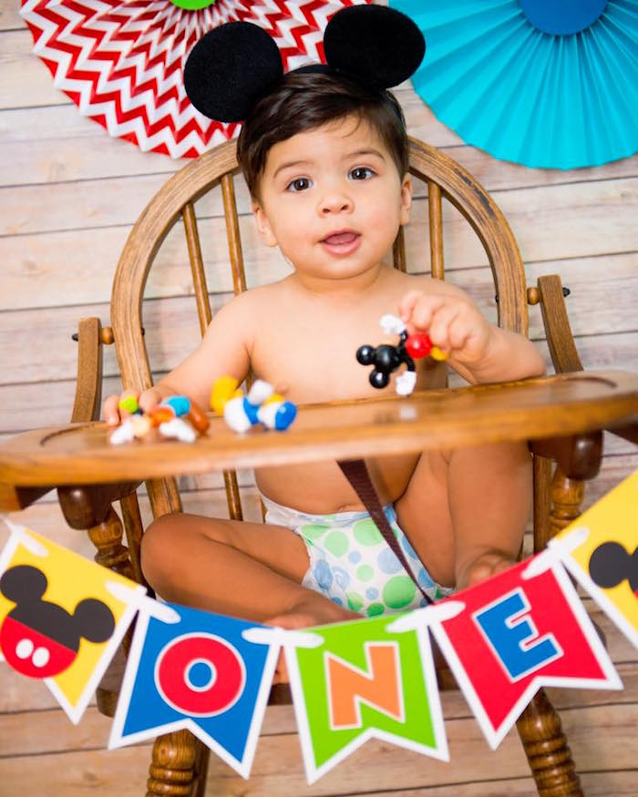 Mickey Mouse highchair banner from a Mickey Mouse 1st Birthday Party on Kara's Party Ideas | KarasPartyIdeas.com (7)
