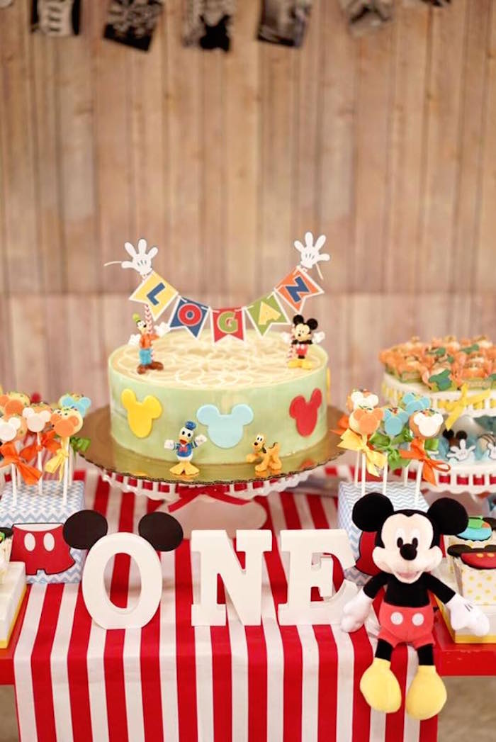 Remarkable Karas Party Ideas Colorful Mickey Mouse 1St Birthday Party Personalised Birthday Cards Bromeletsinfo
