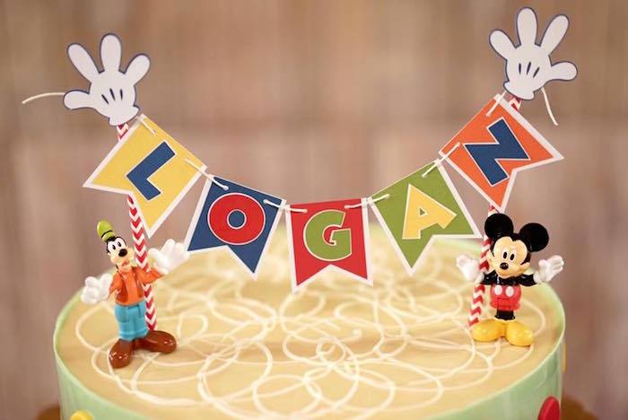 Cake bunting from a Mickey Mouse 1st Birthday Party on Kara's Party Ideas | KarasPartyIdeas.com (4)